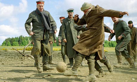 Reconstrution of the Christmas Truce soccer match of 1914