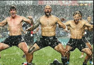 2014 Sevens World Series victory Haka in the rain