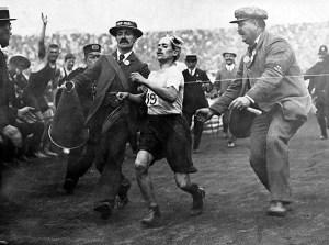 Dorando Pietri at the finish line