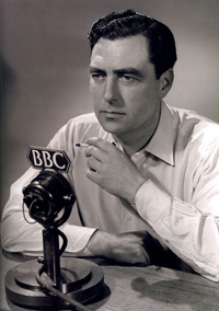 John Arlott, poet and broadcaster, in a post-war posed BBC shot
