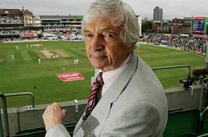Richie Benaud in the commentary box