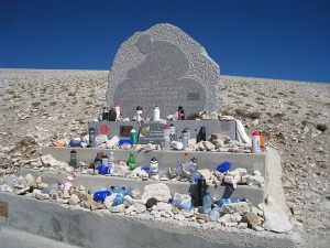 The memorial to Tommy Simpson on Mont Ventoux