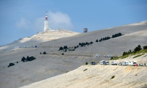 The last kilometers of Le Tour De France at Mont Ventoux, 2013
