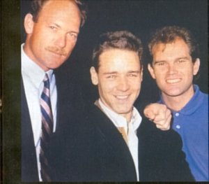 Russell Crowe with cousins Martin and Jeff Crowe, 1991